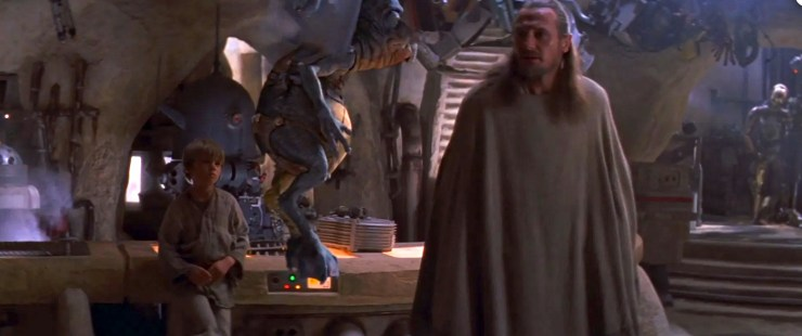 Star Wars, Phantom Menace, Qui-Gon talking to Watto, Anakin in background