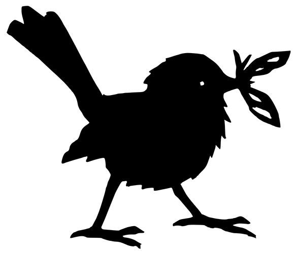 silhouette cutout of a bird with an insect in its beak