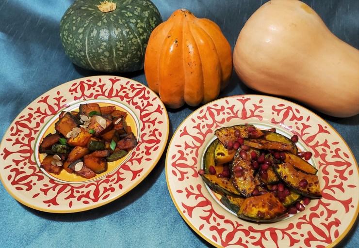 Photo of two kabocha squash dishes