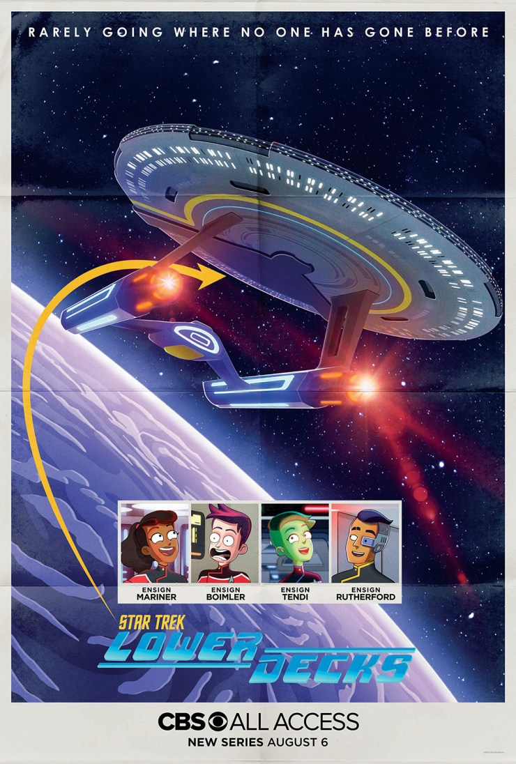 Star Trek: Lower Decks teaser art poster, featuring starship and small square pics of cast members