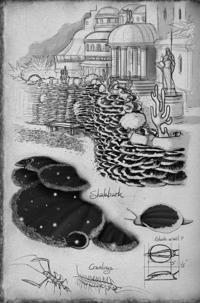 Shallan's illustration of cultivated shalebark decorating a ledge