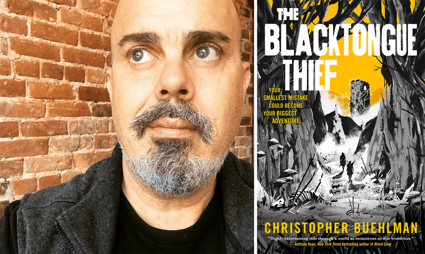 Author photo of Chrisopher Buehlman with book cover for The Blacktongued Thief