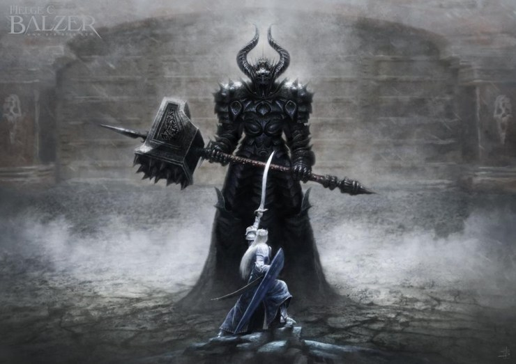 A giant figure with a mace faces a human with a drawn sword