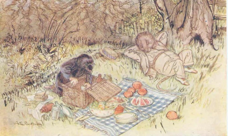 Illustration of Ratty and Mole at a picnic in a scene from The Wind and the Willows