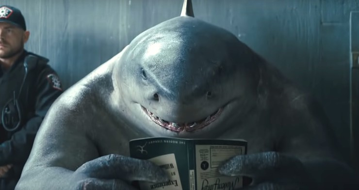 The Suicide Squad, King Shark reading