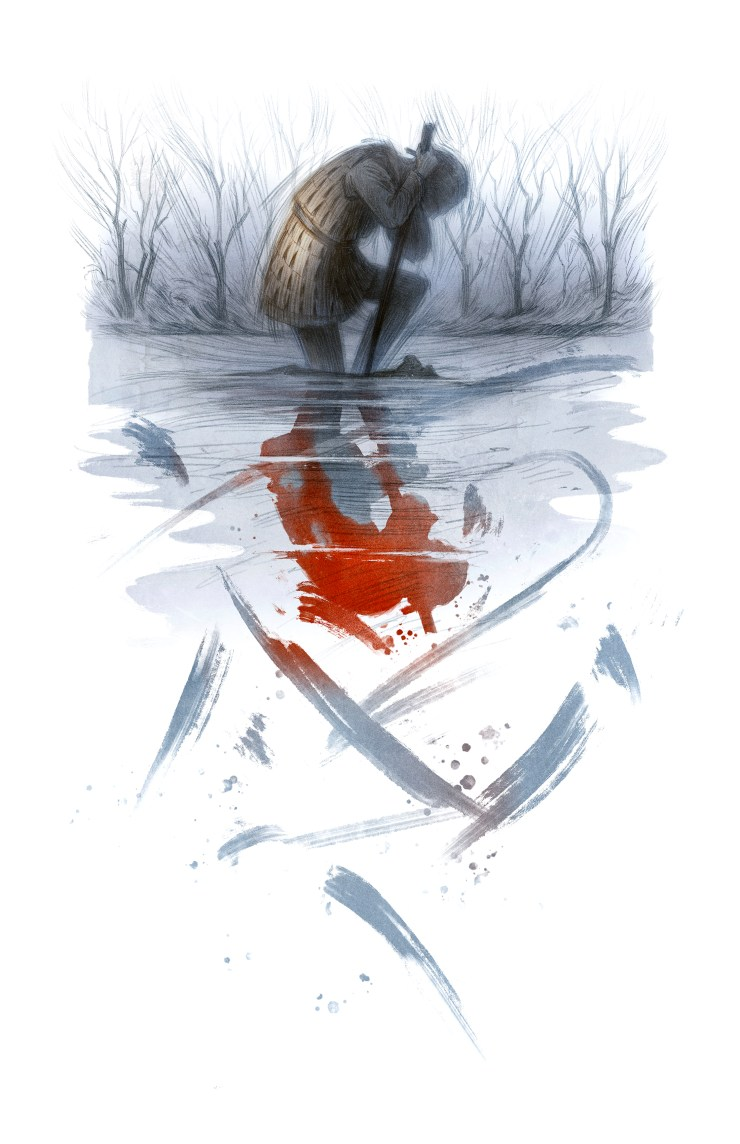 Image description: Black-and-white illustration of a figure kneeling in the shallows of a river, leaning their weight on a sword. In the upper third of the image, the figure is framed by bleak, bare trees. Beneath her, under her knee and barely visible, there is the hint of another submerged figure. Below this is the figure's reflection in the moving water—darker and sharper and violently spattered and streaked with loose brushstrokes that cascade down the rest of the image.