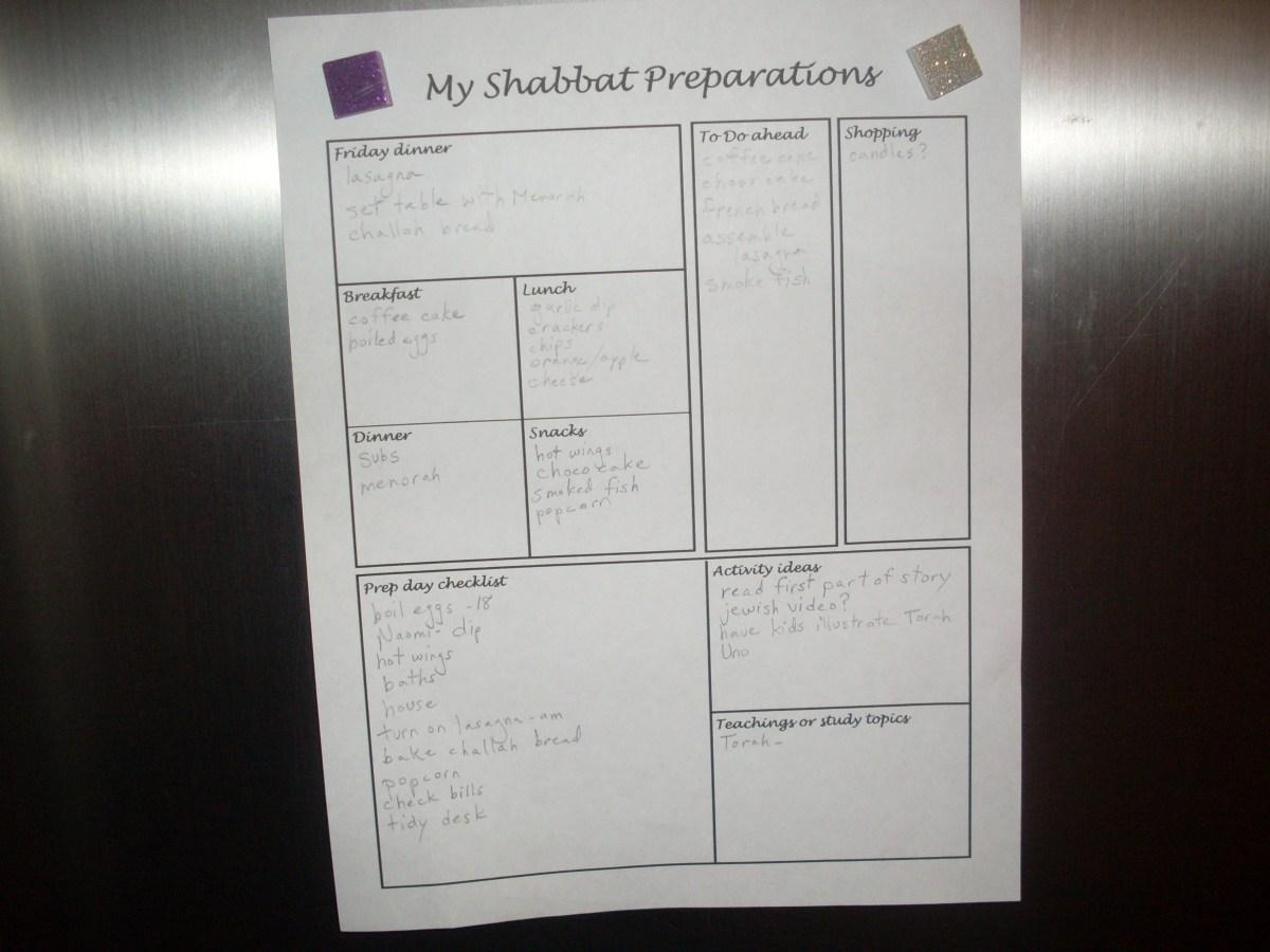 Shabbat checklist