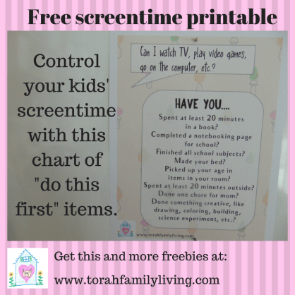 Free screentime printable