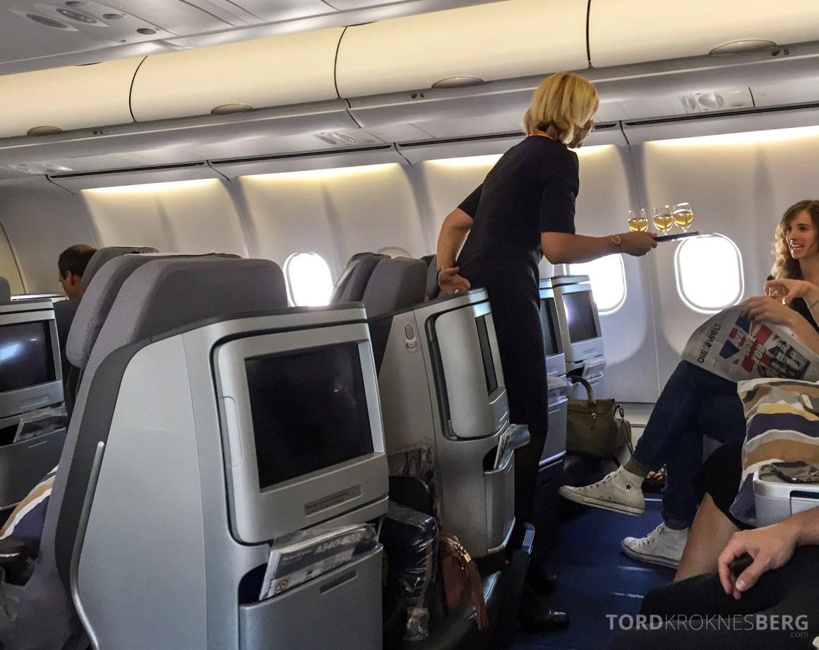 Lufthansa Business Class München til New York velkomstdrink