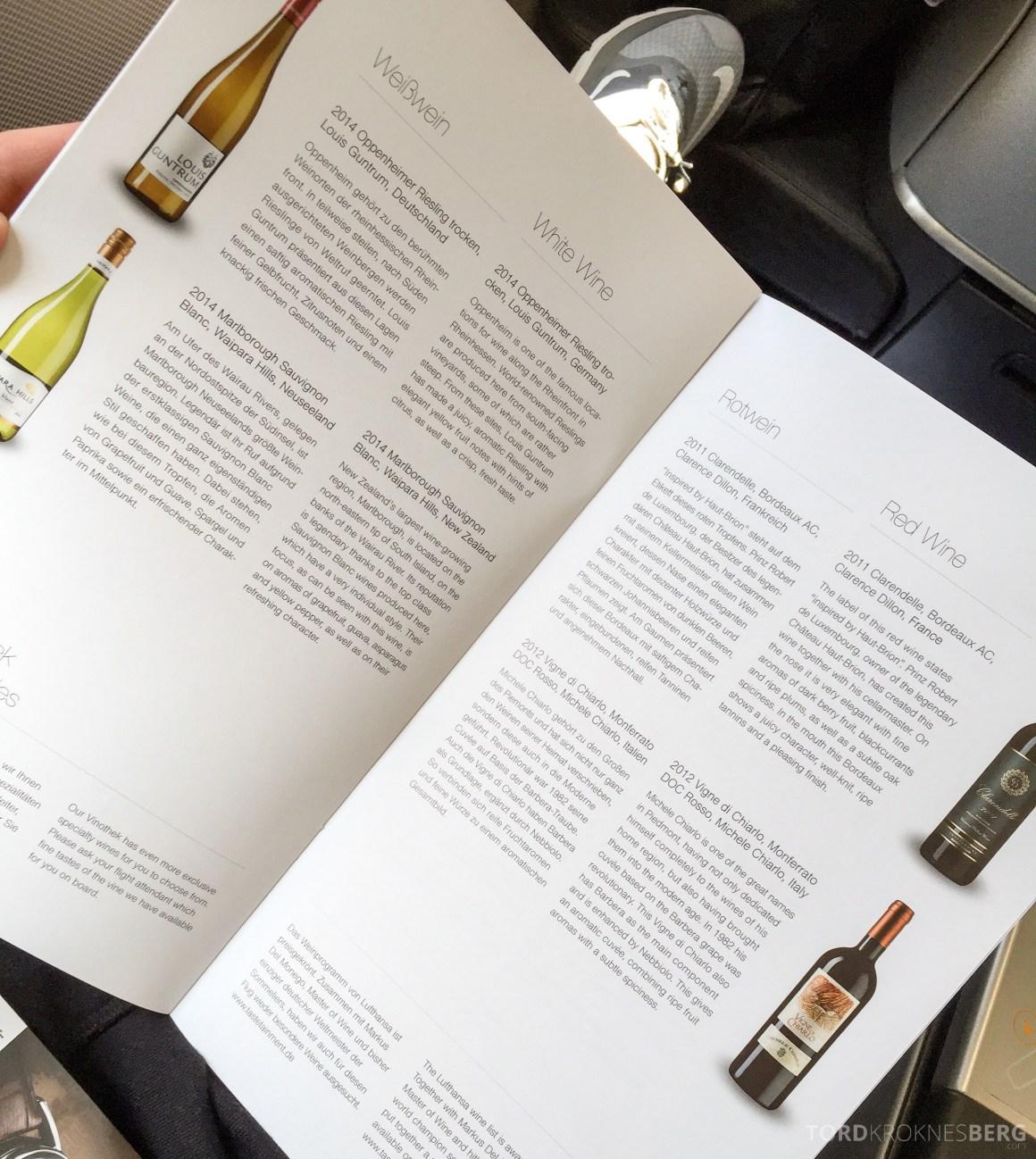 Lufthansa Business Class München til New York vinutvalg