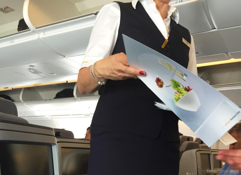 Lufthansa A380 Business Class Houston Frankfurt utdeling meny