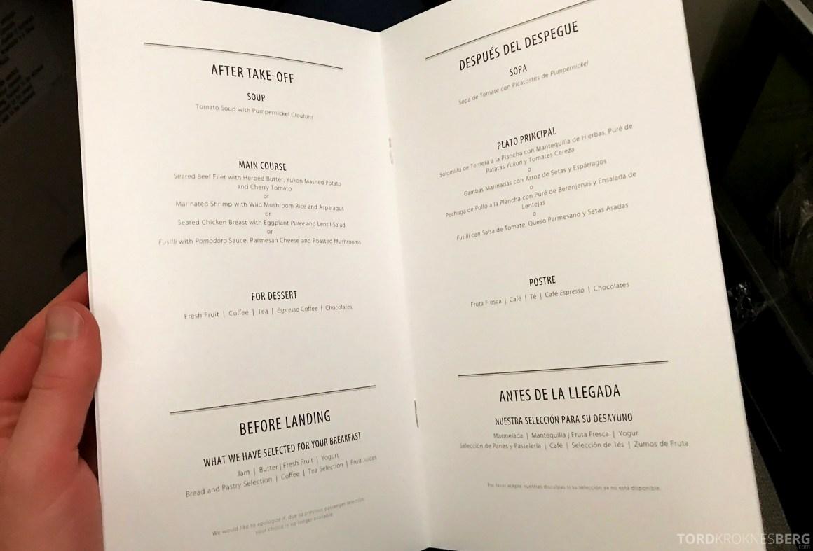 TAP Portugal Business Class New York Lisbon meny måltid