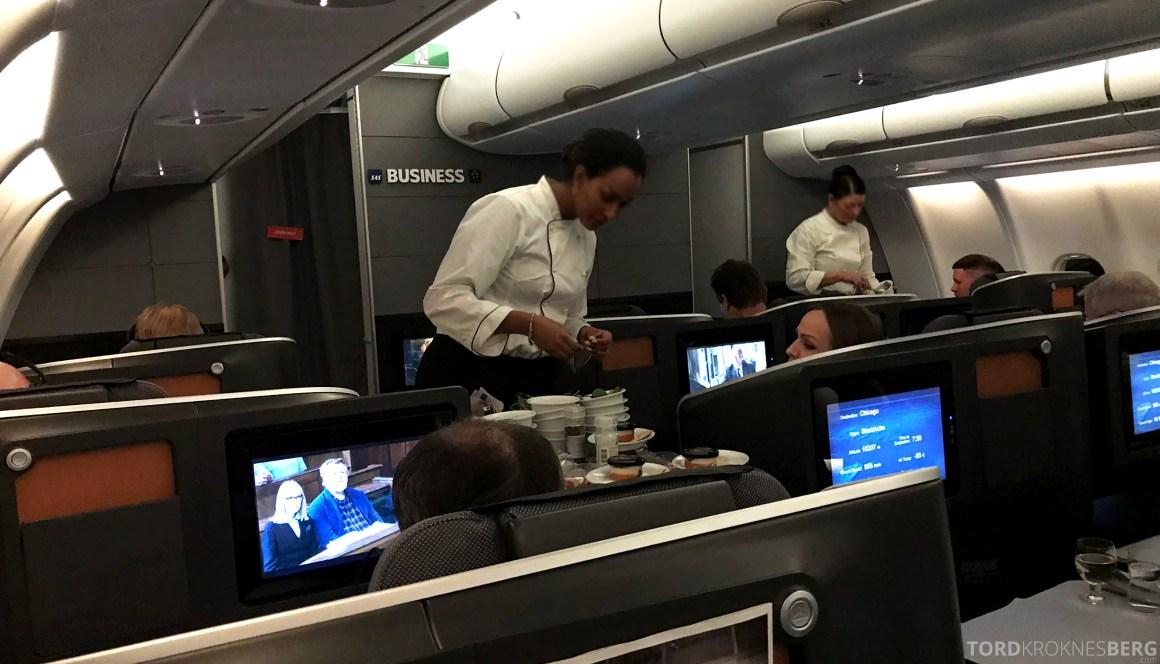 SAS Business Class Stockholm Chicago servering forrett
