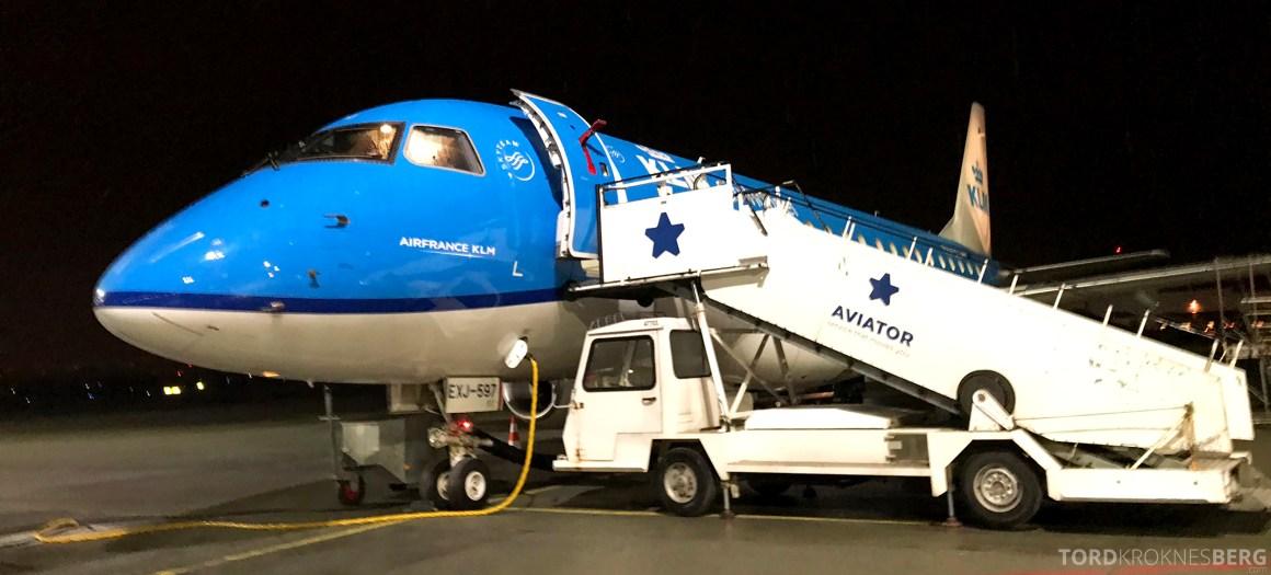 KLM Business Class Trondheim Amsterdam flyvemaskin