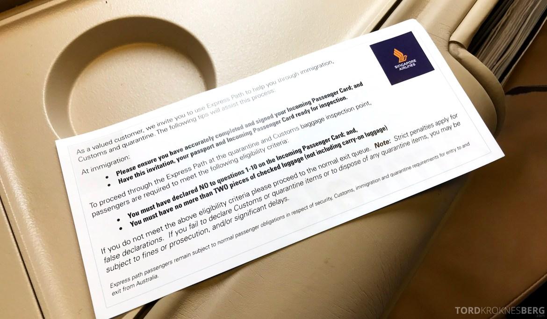 Singapore Airlines Business Class Brisbane ekspresskort