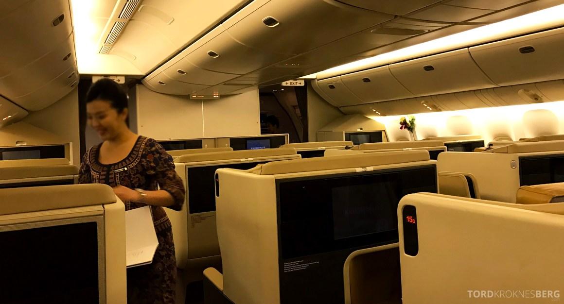 Singapore Airlines Business Class Brisbane utdeling meny