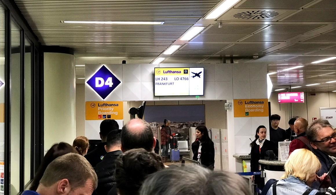 Lufthansa Business Class Rome Frankfurt Oslo gate
