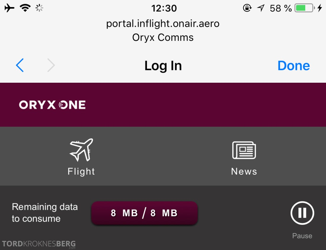 Qatar Airways Business Class Oslo Doha Wi-Fi