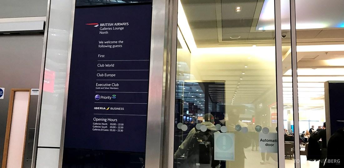 British Airways Galleries Club Lounge Heathrow London adgang