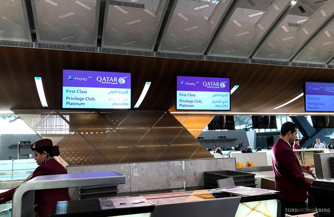 Qatar Airways Economy Class Doha Oslo innsjekk skranke