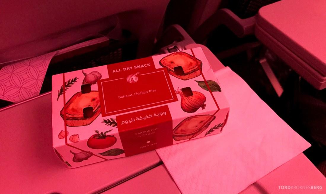 Qatar Airways Economy Class Oslo Doha chicken pie