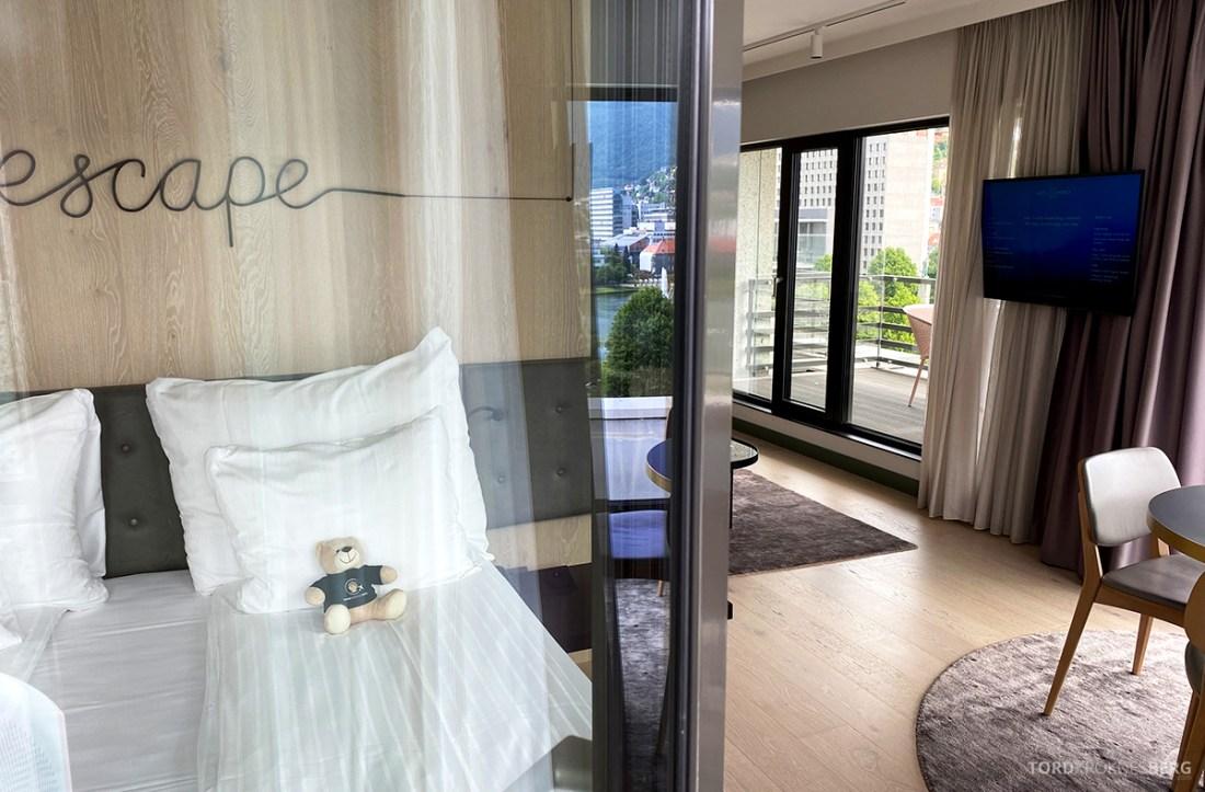 Hotel Norge by Scandic Bergen seng fra balkong