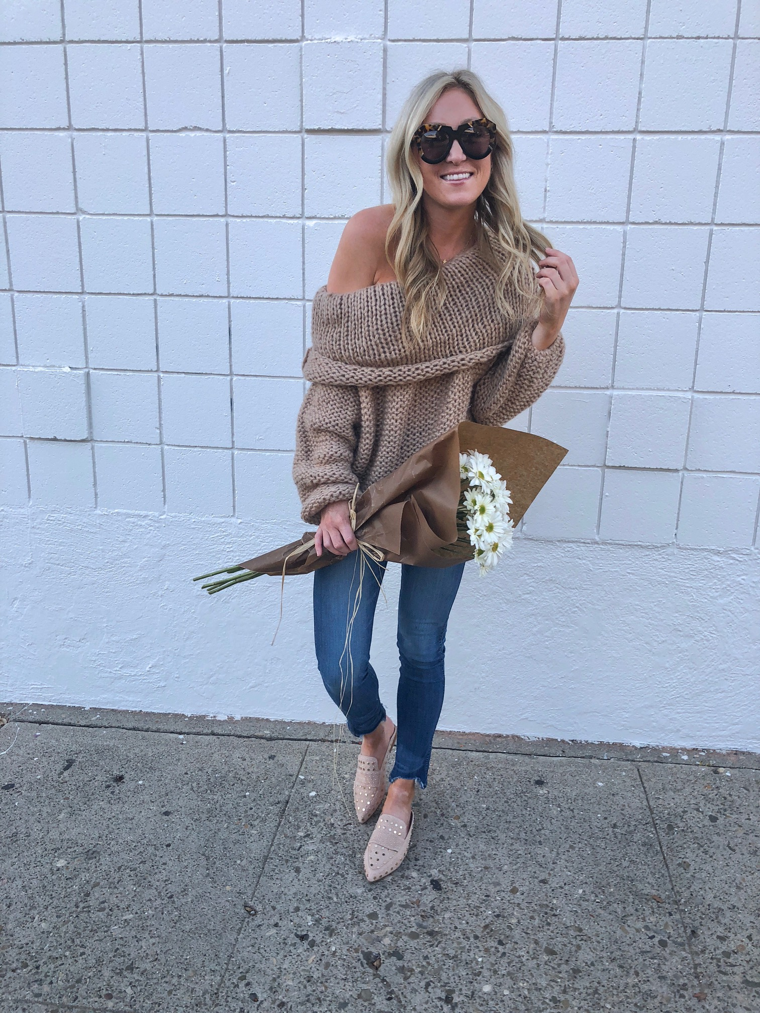 persun off the shoulder chunky sweater