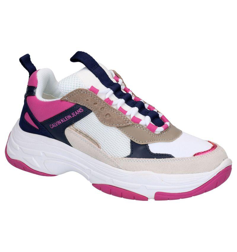 Calvin Klein Mesh Witte Lage Sneakers
