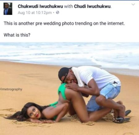 pre w1 - New Style? Internet Boils As Man Is Seen Burying Face In His Fiancee's Bum For Pre-wedding Photo