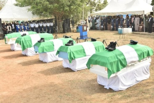 Photos From The Funeral Of 5 Nigeria Air Force Personnel Killed In Borno Helicopter Crash 5