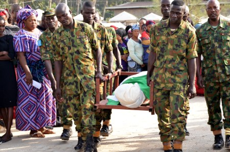 Photos From The Burial Of The 14 Nigerian Soldiers Killed In Boko Haram Ambush
