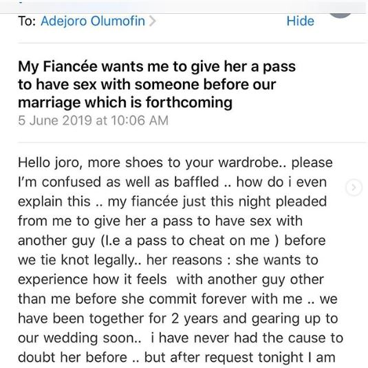 Drama unfold as bride begs for chance to cheat before wedding day 1