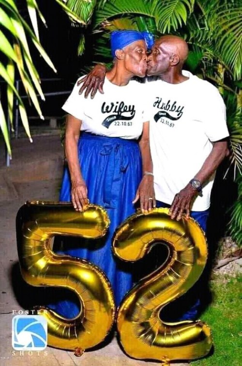 Old couple rocking same outfit to celebrate 52nd anniversary