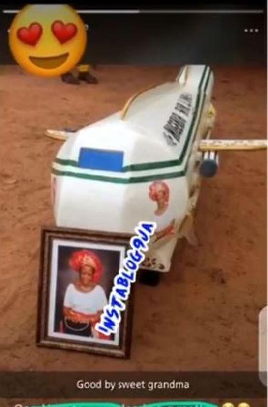 woman buried in aeroplane coffin