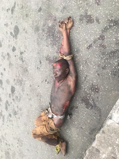 The corpse of the suspected criminal