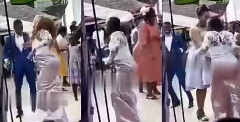 The bride dancing in excitement pulled off her wig and threw it away