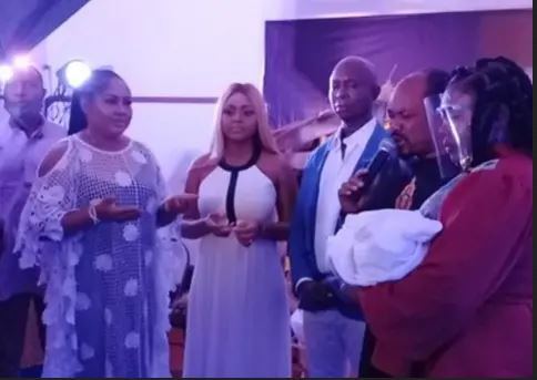 Regina Daniels' Dad Attends Her Baby's Naming Ceremony, Ends Rift With Ned Nwoko