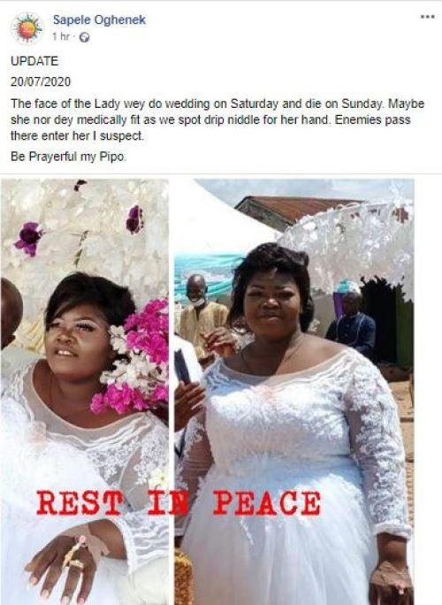 die bride1 - So Unhappy! Nigerian Bride Dies One Day After Her Marriage ceremony (Photograph)