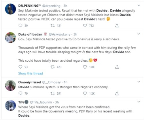 'Go And Redo Your Coronavirus Test' - Nigerians Tell Davdo After Governor Makinde Tested Positive For The Virus