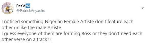 Nigerian Female Artistes Are Bad Belle, They Don't Feature Each Other - Man Laments