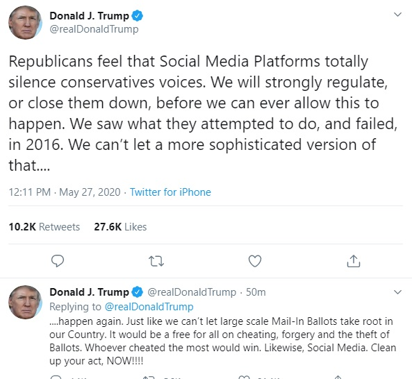 Trump Threatens To Shutdown Twitter And Other Social Media Platforms