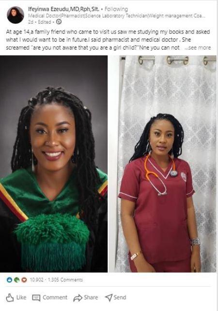Inspiring Story of Ifeyinwa Ezeudu, the Nigerian Lady Who Earned 3 University Degrees Against All Odds (Photo)