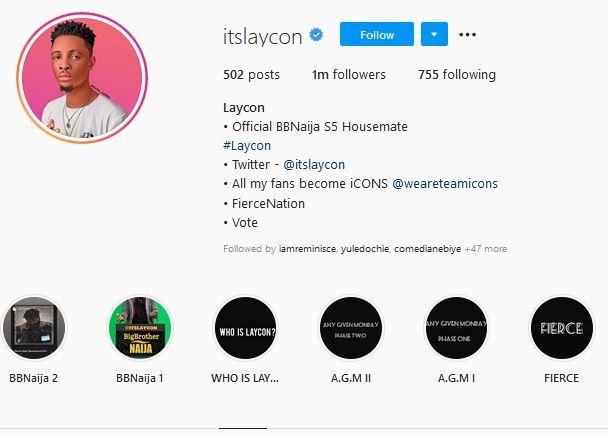 BBNaija Laycon Instagram account