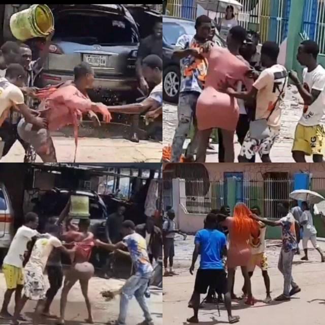 Crossdresser beaten mercilessly in Lagos state