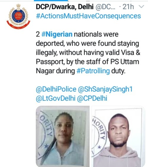 Faces Of Nigerian Man And Woman Deported From India For Living In The Country With Expired Visas (Photo)
