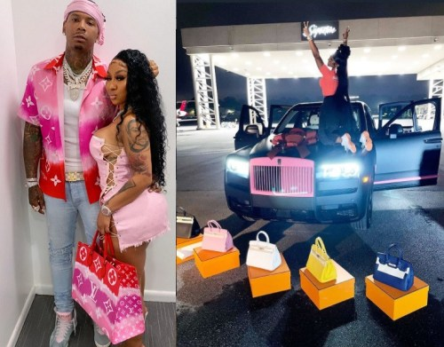 Moneybagg Yo gifts girlfriend a car and designer bags