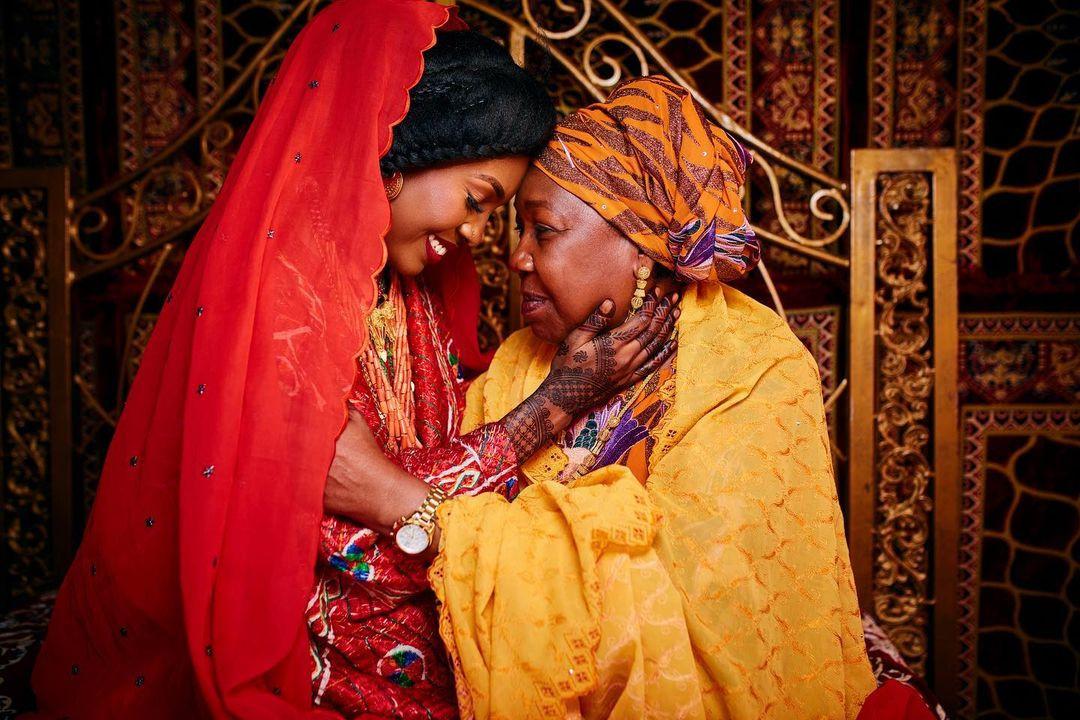 Mom crying at daughter's wedding