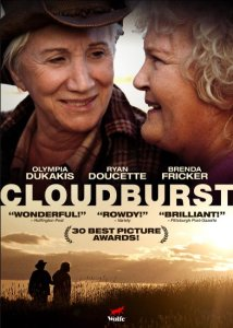 "A movie cover. The title is ""Cloudburst,"" and the cover shows two elderly white women looking fondly at each other."