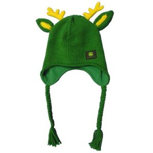 A John Deere hooded beanie. It is green and yellow and has ear flaps, small yellow antlers, and green-and-yellow deer ears.