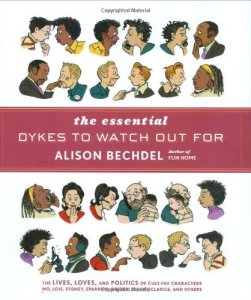 A cover of the book The Essential Dykes To Watch Out For, featuring cartoon women.